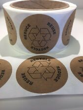 "100 Recycle Reuse Reduce 2""Circle Label Stickers Recycle Natural Kraft Paper"
