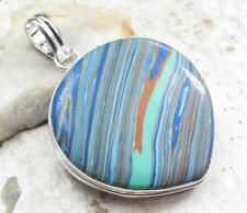 925 Sterling Silver Overlay PENDANT Jewelry| RAINBOW CALSILICA 2 3/8 in N04-016