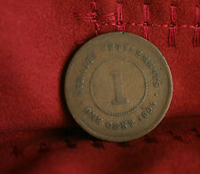 1 Cent 1895 Straits Settlements World Coin KM16 Malaysia Queen Victoria Asia
