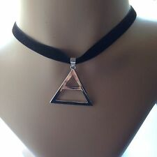 30 Seconds To Mars Triad Triangle Choker Silver Tone Black Slim Necklace Echelon