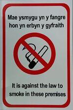 Es contra el derecho a fumar en estos locales galeses Bilingüe A4 20x30cm