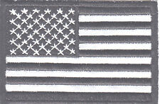 REFLECTIVE USA AMERICAN FLAG, BLACK & WHITE IRON ON PATCH-BIKER-VEST-MILITARY