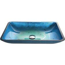 Kraus GVR-204-RE Irruption Blue Rectangular Glass Vessel Bathroom Sink