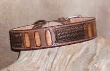 "Custom Med. Brown Leather Dog Collar 1 1/4"" wide Hand Tooled, Bullets / BW. G&E"