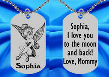Tinkerbell Dog Tag Necklace for Kids, Personalized FREE with NAME! Tink