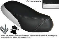 BLACK & WHITE CUSTOM FITS PIAGGIO SFERA 125 DUAL LEATHER SEAT COVER ONLY