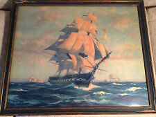 "Nice Antique Gordon Grant 1927 ""USS Constitution- Ironsides Ship"" Print - Framed"
