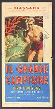 LOCANDINA, IL GRANDE CAMPIONE Champion KIRK DOUGLAS, ROBSON, SPORT BOXE, POSTER