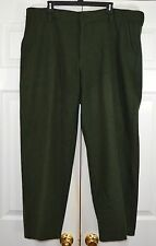 LL Bean Hunting Pants Dark Green Wool Flannel Thick Heavy Unlined 42 x 28