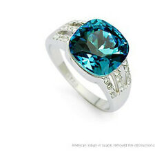 VINTAGE INSPIRED 18K WHITE GOLD PLATED AQUAMARINE GENUINE SWAROVSKI CRYSTAL RING