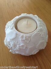 Pair of Large White Rose Ceramic  Tealight Candle Holders T-Light Bedroom Living