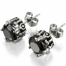 2Pcs Stainless Steel Claw Round Cut Cubic Zirconia Stud Earrings Men's Women's