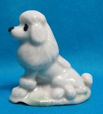 Wade White Poodle Dog Green Grass Black Glossy Glaze Miniature Ceramic Figurine