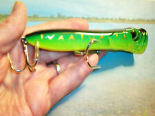 DOLPHIN / MUSKIE GREEN/GOLD POPPER/6 IN TOP WATER LURE RATTLES/ HEAVY HARDWARE !