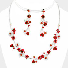 Red rose vine necklace set sparkly diamante prom bridal party jewellery 0410