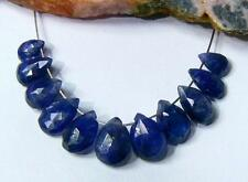 11 RARE GENUINE NATURAL BLUE FACETED SAPPHIRE BRIOLETTE BEADs 12.75ct 6-8mm