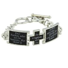 NEW Lord's Prayer Silvertone Links Toggle Bracelet with Black Faux Leather Cross