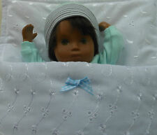 "12"" Sasha baby doll's Cotton Sleeping bag, pram cot bedding by Lesley Shaw NEW"