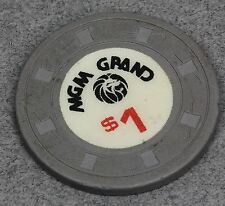 1970's OLD MGM GRAND CASINO NEVADA RETIRED $1 OBSOLETE CHIP TOKEN GAMBLING