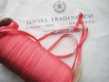 "10 Yards Vintage Tiny Rayon Coral Taffeta Ribbon Antique Doll 1/8"" Lampshade"