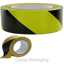 1  X PVC Hazard Warning Tape Roll - Self Adhesive - 50mm x 33m YELLOW/BLACK