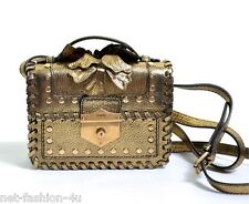 ALEXANDER McQUEEN GOLD MINI WESTERN WICCA SATCHEL CROSS BODY BAG BNWT STUNNING