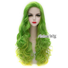 75cm Green Mixed Yellow Halloween Long Curly Synthetic Anime Lolita Cosplay Wig