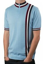 Art Gallery Clothing -Knitted CYCLING TOP Sky Blue XS Mod Sixties