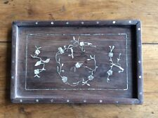 19th cen Chinese Rosewood / hardwood tray with mother of pearl inlaid floral des