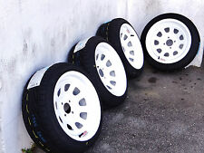 15X8 WHITE DIAMOND RACING RIMS W/ 195-45-15 TOYO PROXES T1R TIRES HELLAFLUSH JDM