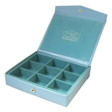 Blue Faux Leather and Suede Jewellery Case - Cufflinks Earrings Rings Tidy Box