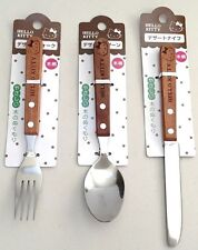 SANRIO HELLO KITTY Wooden handle dessert Fork & Spoon & Knife Astringen F/S JPN