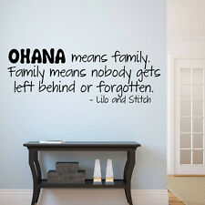 OHANA MEANS FAMILY LILO AND STITCH Vinyl Wall quote Decal home Decor Sticker BF