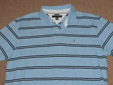 Tommy Hilfiger Mens Heather Blue & Black Striped Polo Collared Golf Shirt XL