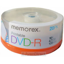 40 New Memorex 16X White Inkjet Printable 4.7GB DVD-R [FREE USPS Priority Mail]