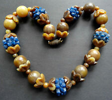 vintage art deco carved horn & blue celluloid flower bead necklace 30s -C64