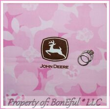 BonEful Fabric FQ Cotton Quilt Pink Brown L Flower John Deere Logo Deer Hawaiian