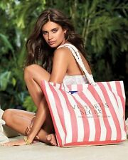 NWT VICTORIA'S SECRET Large Canvas Tote Bag Pink/White Stripe - LIMITED EDITION