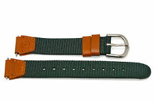 TIMEX 18MM GREEN BROWN NYLON LEATHER EXPEDITION FIELD WATCHBAND STRAP