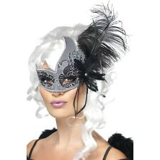 Womens Dark Angel Eye Mask Feathers Fancy Dress Masquerade Venetian Black Silver