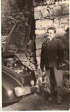 BJ434 Carte Photo vintage card RPPC enfant voiture dépannage moteur car