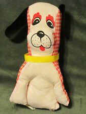 VTG Carnival Game Prize Stuffed Dog/Puppy Red/White Black Vinyl Ears - Taiwan 9""