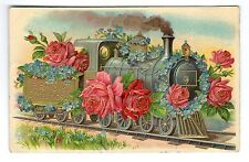 Birthday Greetings Floral Locomotive Postcard c1910