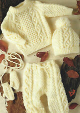 "Baby Knitting Pattern Aran Sweater Mittens Leggings Hat 18-26"" Girls Boys 583"