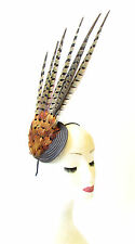 Statement Pheasant Feather Fascinator Races Vintage Brown Headband Hair 40s 1420