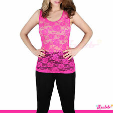 Rose Floral Lace Stretch Racer Back Cami Shirts Slimming Mesh Tank Top Tee Shirt