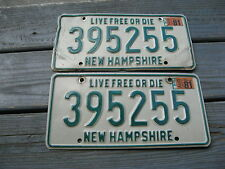 1981 81 NEW HAMPSHIRE NH LICENSE PLATE PAIR NICE SET