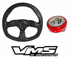 VMS RACING SPARTAN 320MM LEATHER STEERING WHEEL + QUICK RELEASE RED FOR NISSAN
