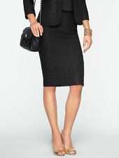 NEW $119 TALBOTS Black Sparkle Herringbone Tweed Pencil Skirt Sz 8