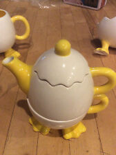 Bella Casa by Ganz Tea for One Stacking Teapot & Cup Cute Egg With Duck Feet